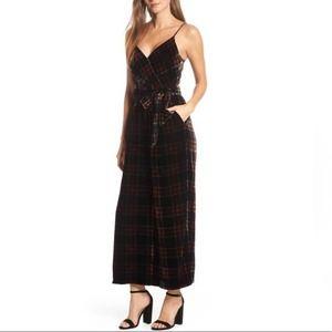 J. Crew Tartan Plaid Velvet Jumpsuit Black Size 6